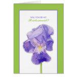 Purple Iris green Will You Be My Bridesmaid Card