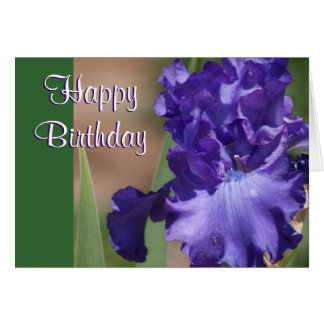 Purple Iris Happy Birthday Card