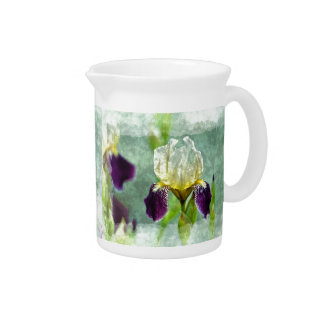 Purple Iris Impressionist Floral Painting Art Drink Pitcher