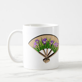 Purple Iris Japanese Fan Design Mug