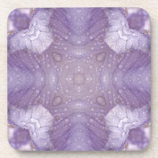 Purple Iris Kaleidoscope with Raindrops Coaster
