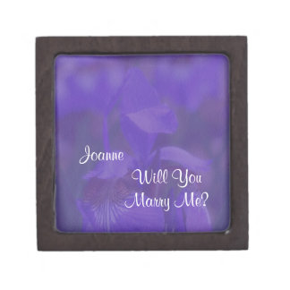 Purple Iris Marry Me Floral Engagement Ring Box
