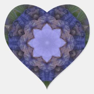 Purple Iris Nature Mandala Heart Sticker