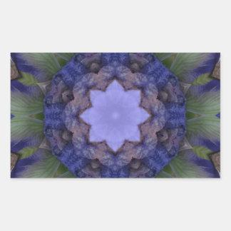 Purple Iris Nature Mandala Rectangular Sticker