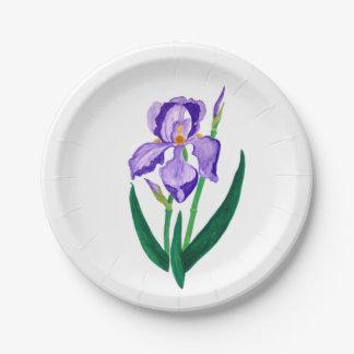 Purple Iris Paper Plate 7 Inch Paper Plate
