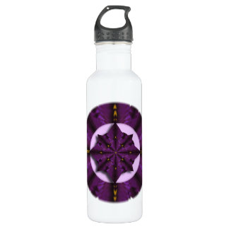 Purple Iris Petal Mandala  Water Bottle