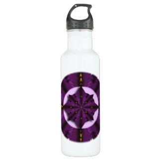 Purple Iris Petal Mandala  Water Bottle 24oz Water Bottle