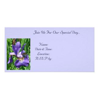 Purple Iris Photo Card Invitation