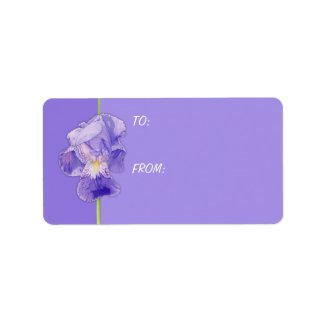 Purple Iris purple Gift Tag label