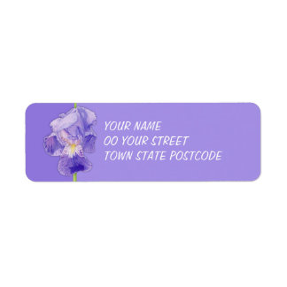 Purple Iris purple Return Address Label