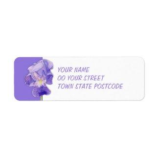 Purple Iris Return Address Label label