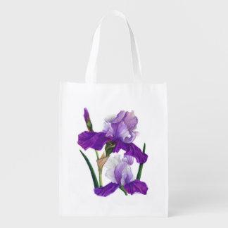 Purple Iris Reusable Grocery Bag