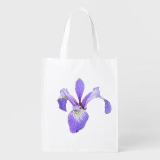 Purple Iris Reusable Tote Replaces Plastic Grocery Bag