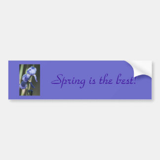 "Purple Iris ""Spring is Best"" Bumper Sticker Car Bumper Sticker"