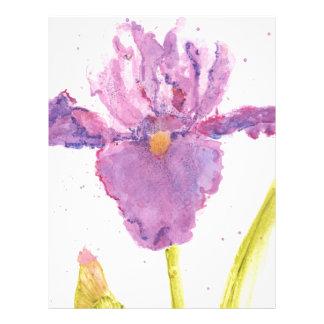 Purple Iris Watercolor Letterhead