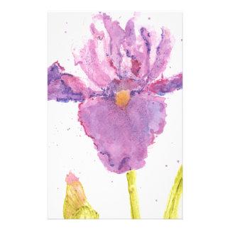 Purple Iris Watercolor Stationery