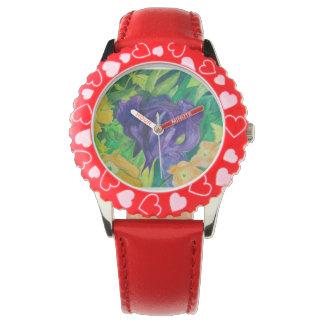 Purple Iris(watercolor) Wristwatch