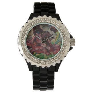 Purple Iris(watercolourpastels) Wristwatch