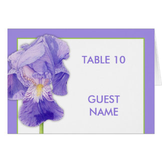 Purple Iris Wedding Dinner Place Card