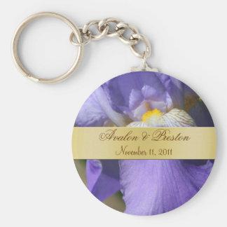 Purple Iris Wedding Favor Gold Keychain