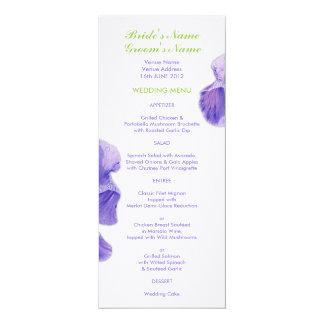 Purple Iris Wedding Menu Card