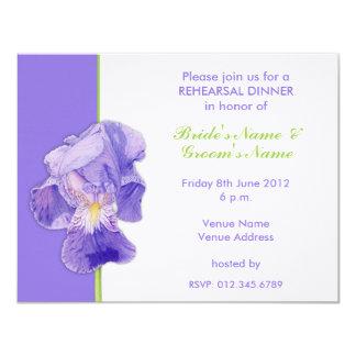 "Purple Iris Wedding Rehearsal Dinner Card 4.25"" X 5.5"" Invitation Card"