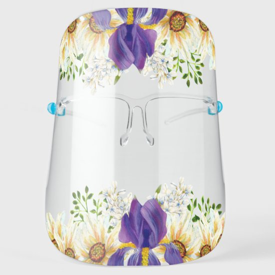 Purple Iris White Daisies Watercolor Floral Face Shield