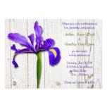 Purple Iris Whitewashed Wood Wedding Invitation