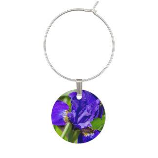 Purple Iris Wine Charm