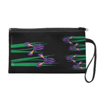Purple Iris Wristlette on Black Bag