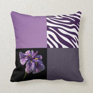 Purple Iris Zebra Stripe Gradient Colors Texture Throw Pillow