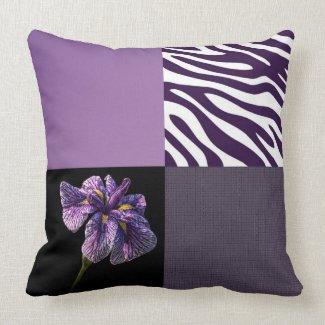 Purple Iris Zebra Stripe Trendy Graphic Quarters Throw Pillow