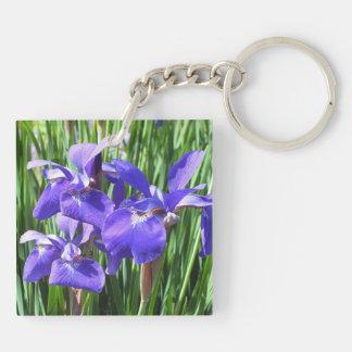 Purple Irises Acrylic Keyring Double-Sided Square Acrylic Keychain