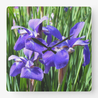 Purple Irises Clock