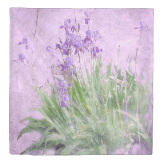 Purple Irises Duvet Cover