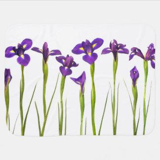 Purple Irises Flower Colorful Iris Flowers Floral Receiving Blanket