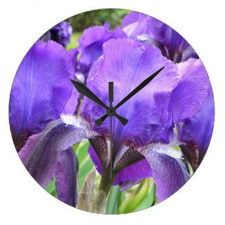 Purple Irises in Bloom Wallclock