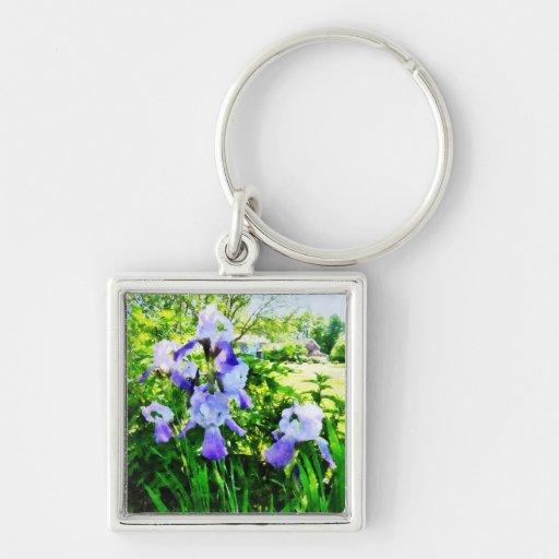 Purple Irises in Suburbs Keychains