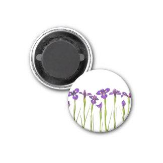 Purple Irises - Iris Flower Customized Template 1 Inch Round Magnet