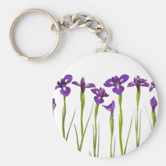 Purple Irises - Iris Flower Customized Template Basic Round Button Keychain