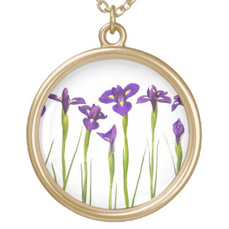 Purple Irises - Iris Flower Customized Template Gold Plated Necklace