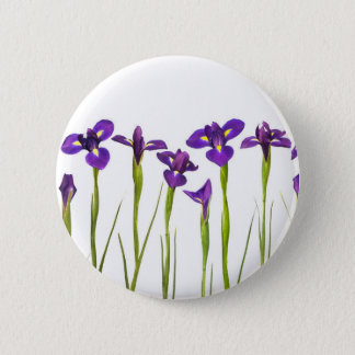 Purple Irises - Iris Flower Customized Template Pinback Button
