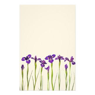Purple Irises - Iris Flower Customized Template Stationery Paper