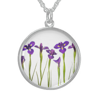 Iris flower necklaces lockets zazzle purple irises iris flower customized template sterling silver necklace pronofoot35fo Image collections