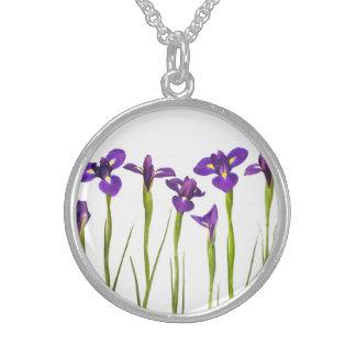 Iris flower necklaces lockets zazzle purple irises iris flower customized template sterling silver necklace pronofoot35fo Choice Image