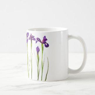Purple irises isolated on a white background coffee mug