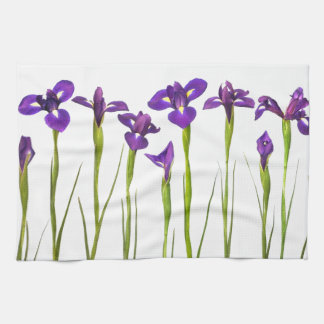 Purple irises isolated on a white background kitchen towel