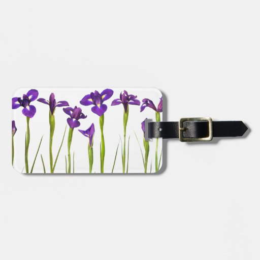 Purple irises isolated on a white background travel bag tag