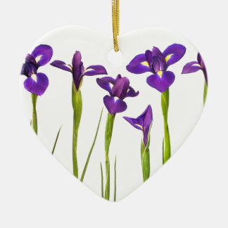 Purple irises isolated on a white background Double-Sided heart ceramic christmas ornament