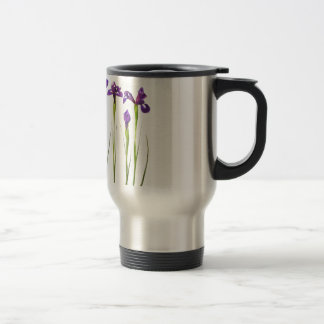 Purple irises isolated on a white background travel mug